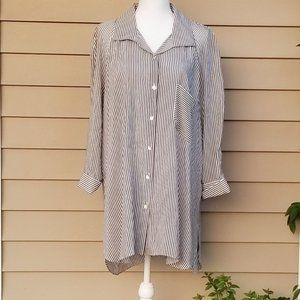 Zara Black and White Pinstripe Button Down Shirt